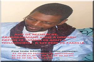 Echos de Nouadhibou: Avis de recherche, Abderrahmane Kane a disparu depuis le 09 Août 2014