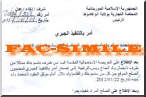 Exclusif : Ordonnance d'exécution du tribunal contre Ghassem Ould Bellali