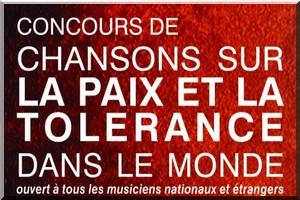 Communiqué : Concours de chansons sur la paix et la tolérance
