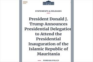 Trump  représenté par une forte délégation à l'investiture de Ghazouani